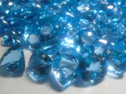 mixed faceted blue topaz