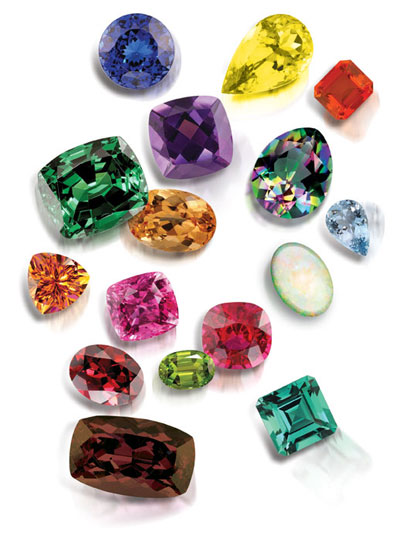 101 carats of faceted gemstones