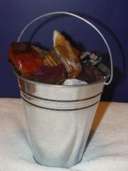 bucket of rocks and gems