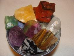 bucket of rocks and gems